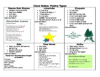 Types of Poetry Notes