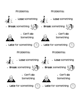 Types of Problems for Writing Problem/Solution Stories Mini Chart