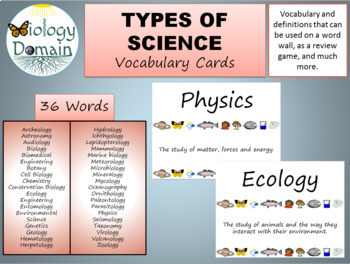 Types of Science Vocabulary Cards