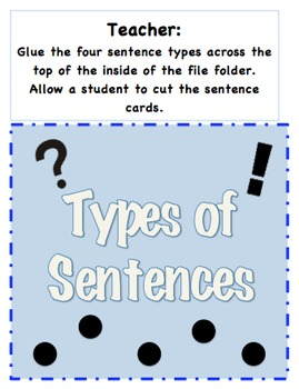 Types of Sentences File Folder Game