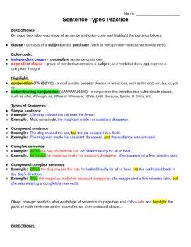 Types of Sentences Practice (KEY) - Simple, Compound, Comp