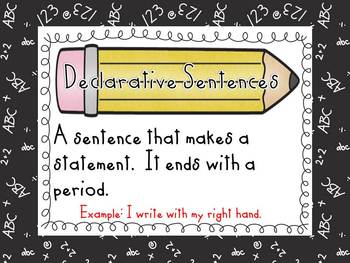 Types of Sentences Sort and Posters-Back to School Theme-L
