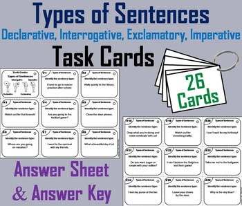 Types of Sentences Task Cards/ Types of Sentences Activity