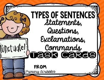 Types of Sentences Task Cards (Statement, Question, Exclam
