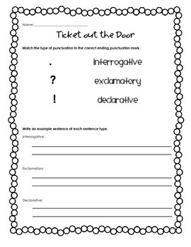 Types of Sentences Ticket Out the Door