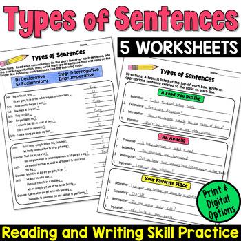 Types of Sentences Worksheets: Declarative, Imperative, In
