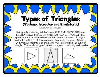 Types of Triangles Card Sort (Scalene, Isosceles, and Equi
