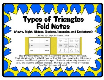 Types of Triangles Fold (Acute, Right, Obtuse, Scalene, Is