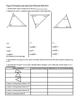 Types of Triangles and Angle Sum Theorems Fall 2013