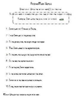 Types of Verbs Packet