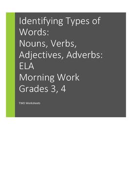 Types of Words, Parts of Speech, Grades 3, 4   nouns, verb