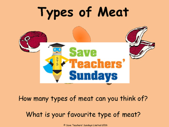 Types of meat and Cooking Methods Lesson plan, PowerPoint