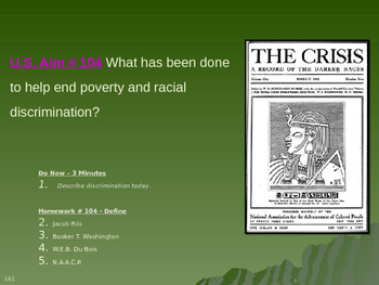 U.S. Aim # 104 What has been done to help end poverty and