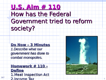 U.S. Aim # 110 How has the Federal Government tried to ref