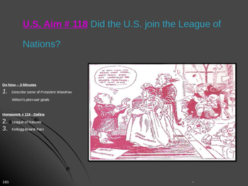U.S. Aim # 118 Did the U.S. join the League of Nations?