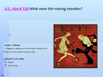 U.S. Aim # 124 What were the roaring twenties?