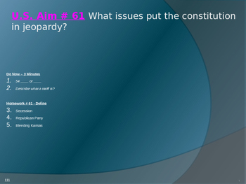 U.S. Aim # 61 What issues put the constitution in jeopardy?