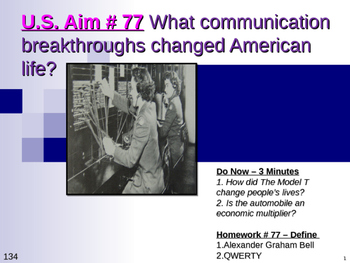 U.S. Aim # 77 What communication breakthroughs changed Ame