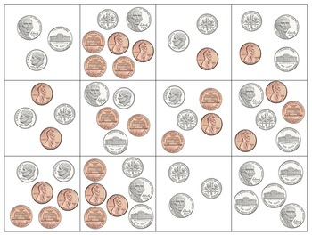 U.S. Coins Memory Game (1 cent through 1 dollar)