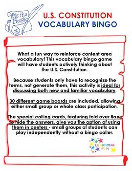 U.S. Constitution Vocabulary Bingo