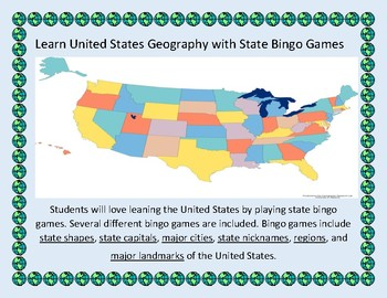 U.S. Geography Bingo: States, Capitals, Nicknames, Major C