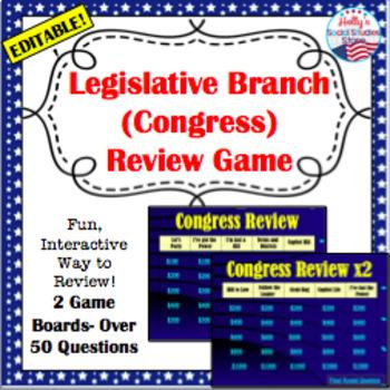 U.S. Government Review Game: Legislative Branch (editable)