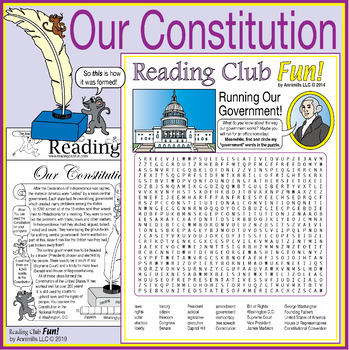 Bundle: U.S. Government Two-Page Activity Set and Word Search