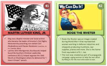 U.S. History II:  Personality Cards (Flash Cards/Desk Cards)