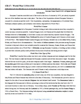 U.S. History STAAR Chapter Bundle Ch-17: World War I 1914-1918