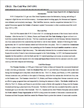 U.S. History STAAR Chapter Bundle Ch-21: The Cold War 1947-1991