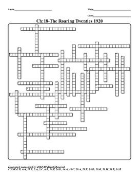U.S. History STAAR Crossword Puzzle Ch-18: The Roaring Twe