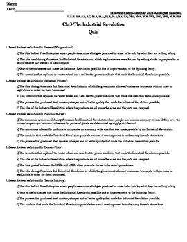 U.S. History STAAR Quiz Ch-3: The Industrial Revolution