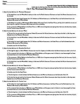 U.S. History STAAR Quiz Ch-5: The Westward Movement