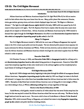 U.S. History STAAR Reader Ch-22: The Civil Rights Movement