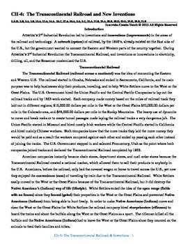 U.S. History STAAR Reader Ch-4: The Transcontinental Railr