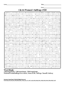 U.S. History STAAR Word Search Puzzle Ch-14: Women's Suffr