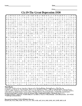 U.S. History STAAR Word Search Puzzle Ch-19: The Great Dep