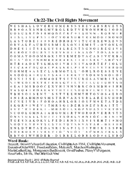 U.S. History STAAR Word Search Puzzle Ch-22: The Civil Rig