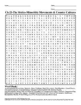 U.S. History STAAR Word Search Puzzle Ch-23: The Sixties-M