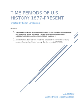 U.S. History Time Period Sheets from 1877-Present