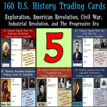 U.S. History Trading Cards - 160 Figures from Explorers to