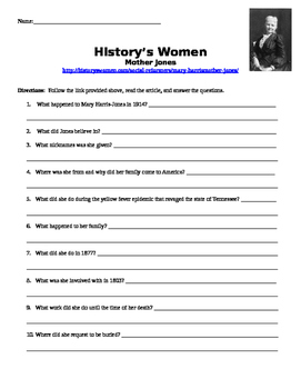 U.S. History Women in History Internet Assignment Mother Jones