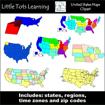 United States Map Clip Art {States, Regions, Time Zones, a