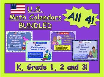 U.S. Math Homework Calendars BUNDLED - 4 Calendars