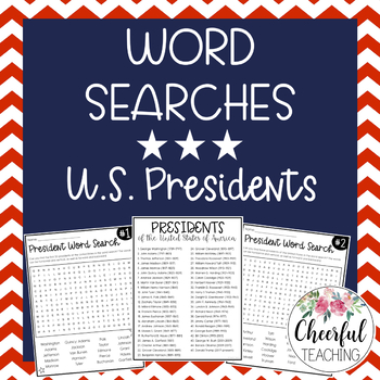 U.S. Presidents Word Searches