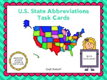 U.S. State Abbreviations Task Cards and Test