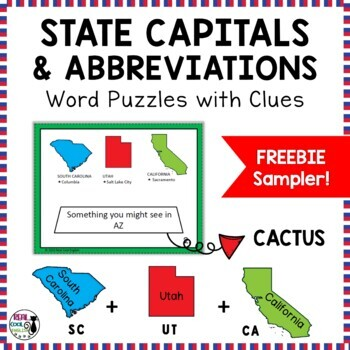 U.S. State Abbreviations and Capitals Puzzles (freebie sample)