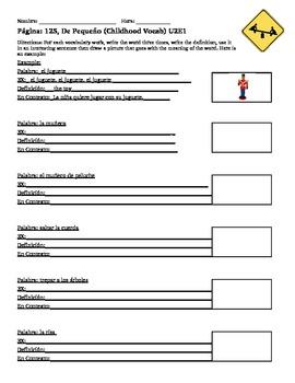 U2E1 En Espanol Childhood Vocabulary Worksheet