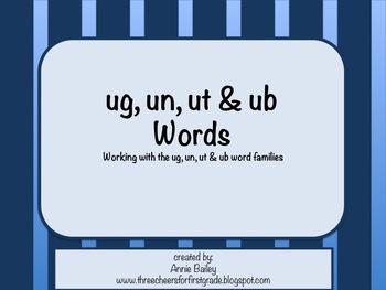 UG, UN, UT, & UB Word Study Sort and Activities