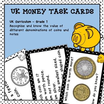 UK Money Task Cards Higher Order Thinking HOTS Year 1